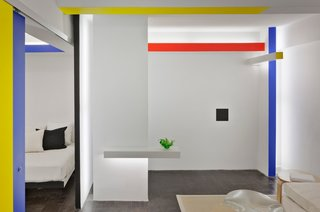 This NYC studio apartment received a Mondrian-inspired makeover.