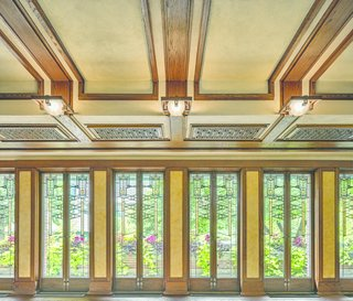 """The windows in Robie House are the most complex of [Wright's] leaded glass designs,"" says Celeste Adams, president of the Frank Lloyd Wright Trust."