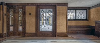 The restoration team used Wright's original drawings to help recreat the front door.