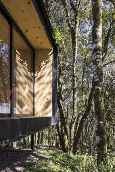 The structure is raised on stilts to allow air flow beneath the home and minimize damage to the landscape.