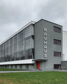 The Bauhaus school in Dessau is instantly recognizable.