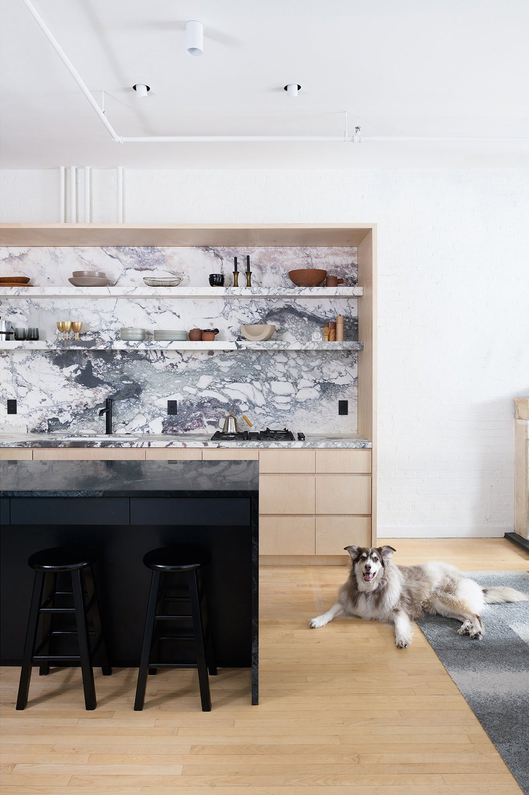 Brooklyn Loft plywood and marble kitchen and soapstone island