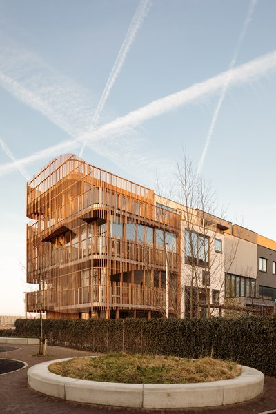The cross laminated timber (CLT) and steel structure was prefabricated, speeding up the building process to just three weeks.