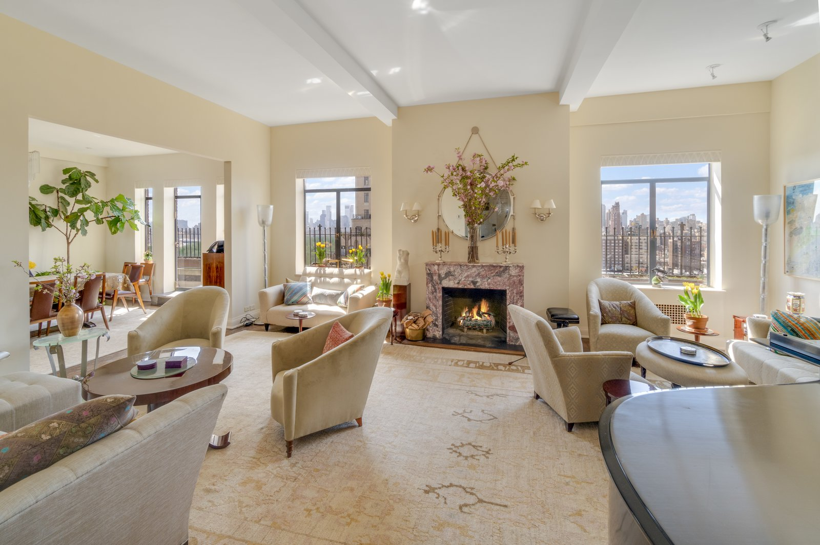 Before Barbra Streisand moved into the 3,670-square-foot apartment, the residence served as the home of lyricist Lorenz Hart. Here is a look at the living room, which is just off the gallery.  Photo 2 of 6 in Barbra Streisand's Former Central Park Penthouse Asks $11.25M
