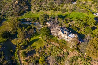 An aerial shot of Mel Gibson's 6,500-square-foot residence in Malibu, California.