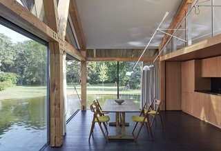 The interiors feature larch glulam beams accented by Douglas fir plywood paneling.