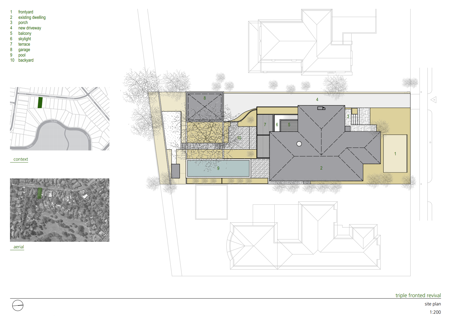 Triple Fronted Revival Site Plan  Photo 13 of 15 in A Post-War Bungalow in Australia Gains an Indoor/Outdoor Entertainment Hub