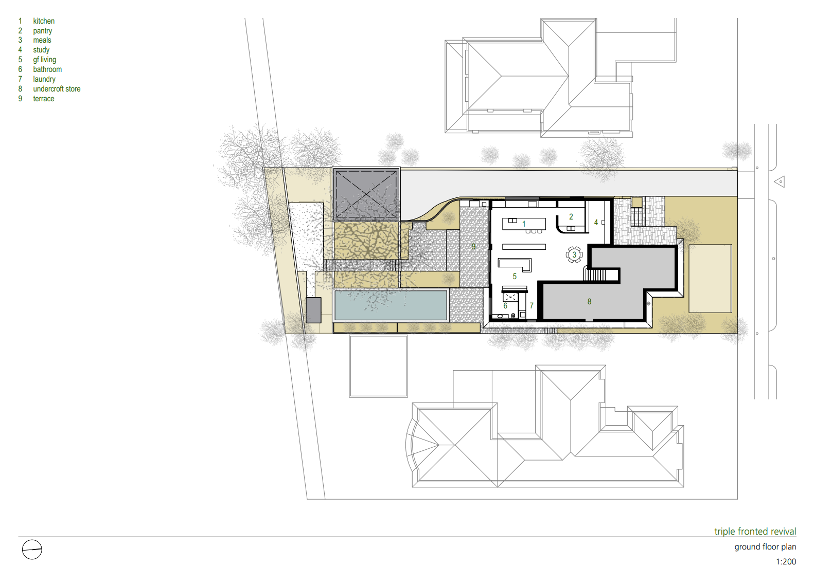 Triple Fronted Revival ground floor plan  Photo 14 of 15 in A Post-War Bungalow in Australia Gains an Indoor/Outdoor Entertainment Hub