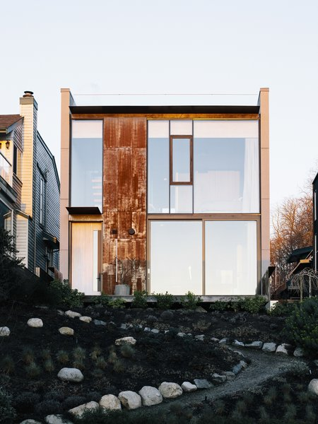 Glass and weathering steel make up the front facade.