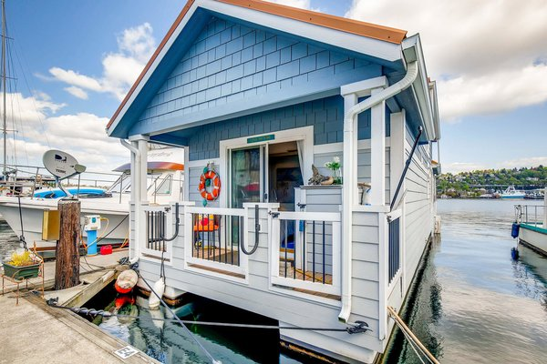 A look at the boat's charming cottage-like exterior.