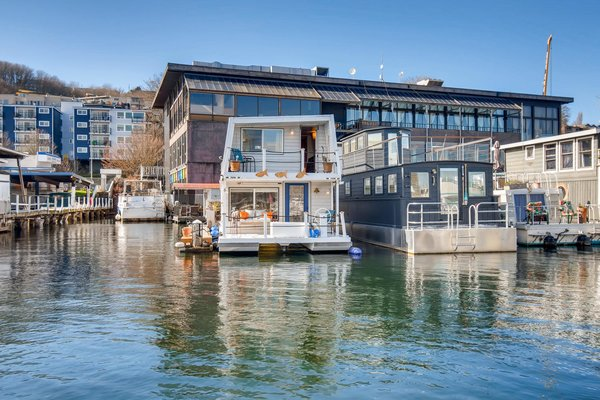 The 1,020-square-foot home features decks off the living room and both bedrooms.