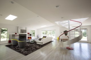 The 4,000-square-foot home is illuminated with natural light thanks to large windows and skylights.