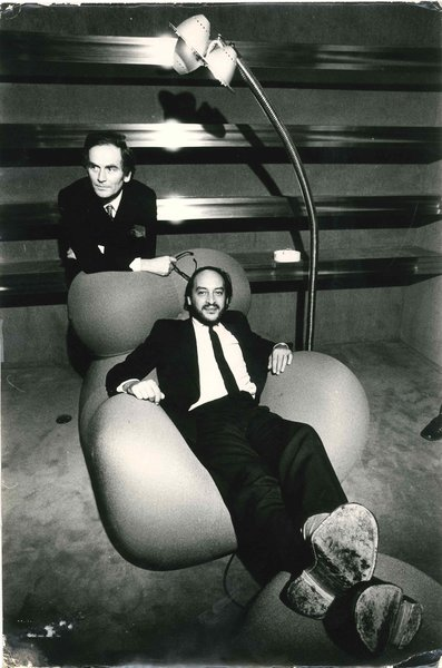 Gaetano Pesce (sitting) and Pierre Cardin with the Up chair in 1969.