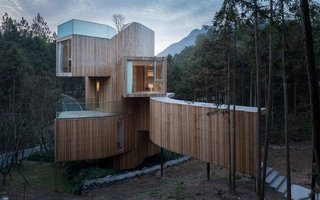 The exterior is vertically clad in timber to complement the spiraling design and surrounding red cedar trees.