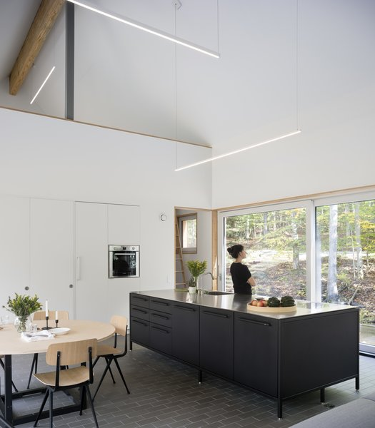 In the kitchen, a Vipp island holds a Gaggenau induction cooktop. The oven is by Bosch, and the hanging LED lights are from PureEdge Lighting.