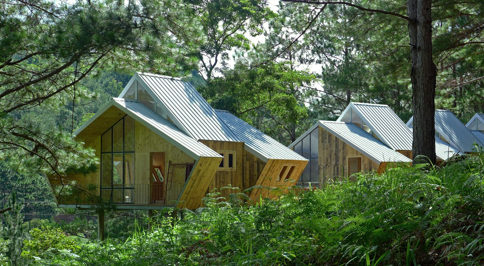 Exterior of Geometric Cabins by Mỹ An Architects
