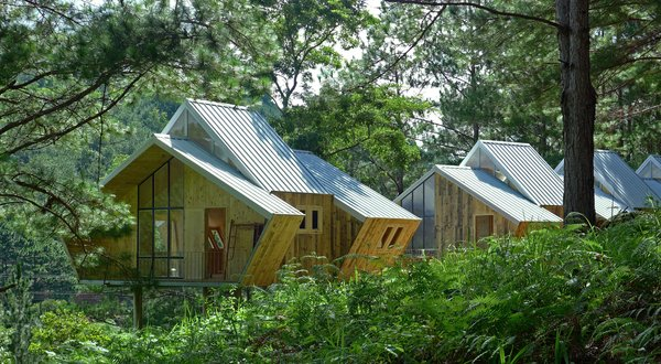 At Vietnam's forested resort Ta Nung Homestay, Ho Chi Minh City–based Mỹ An Architects designed geometric pine-clad cabins as a collaborative live-work space for resort employees. Two cabins, totaling 5,400 square feet, are connected by an expansive shared timber deck that is elevated on stilts, hovering above the forest floor.