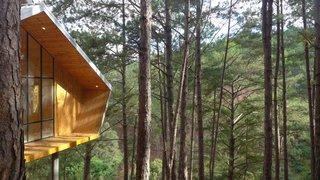 The angular cabins overlook breathtaking forest vistas.