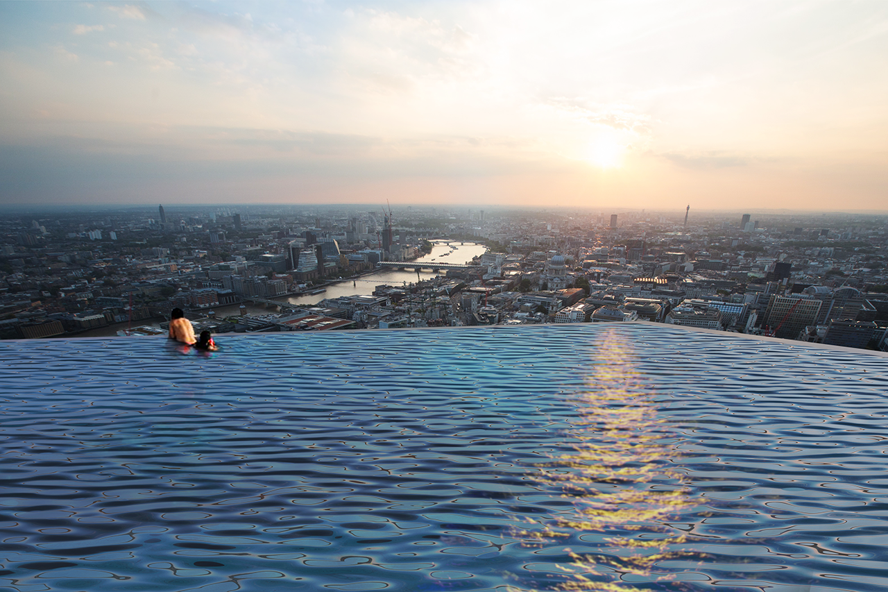 The walls and floor of the pool will be made from cast acrylic, which transmits light similarly to water.  Photo 3 of 4 in The World's First 360-Degree Infinity Pool Is Proposed to Tower Above London