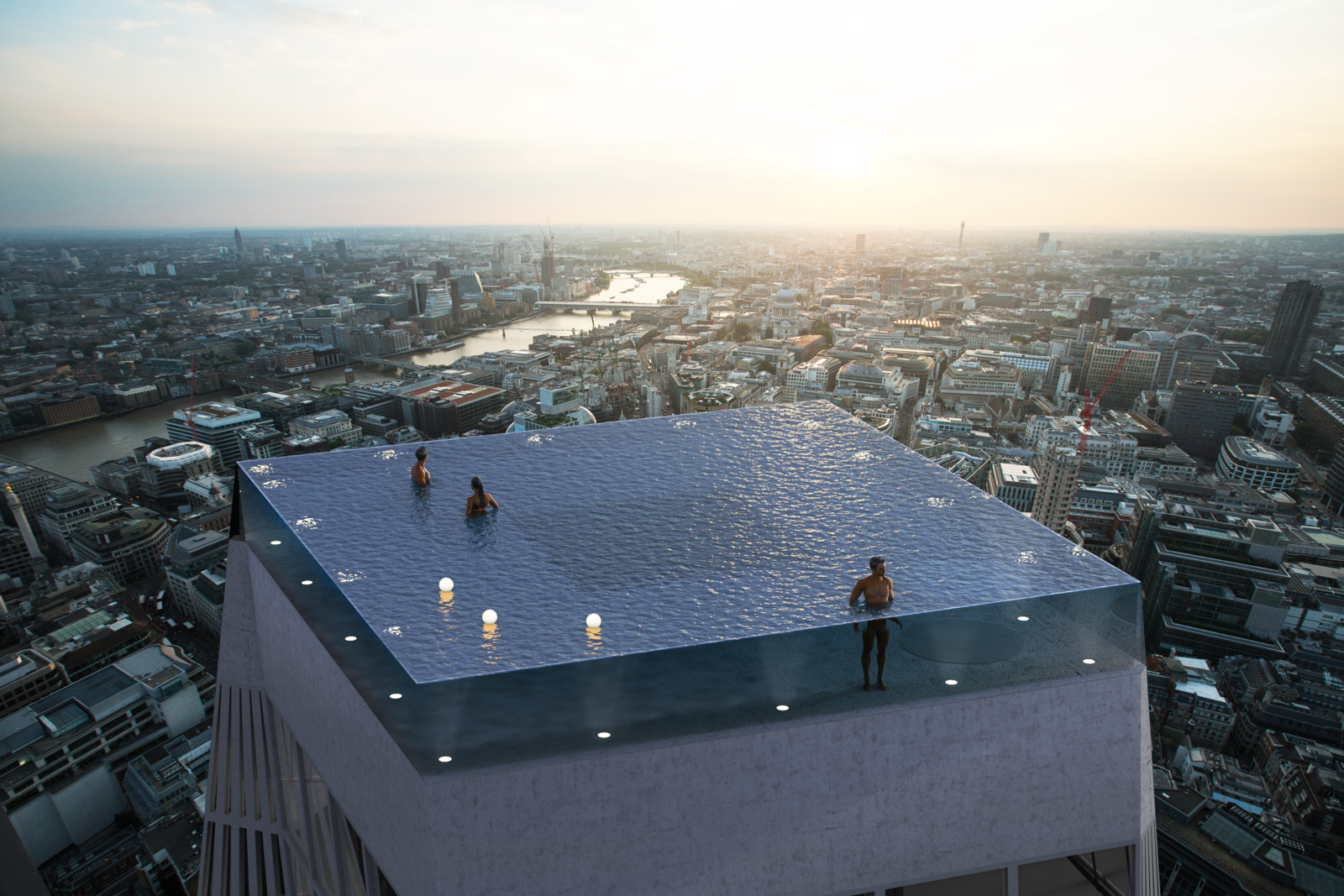 Lights will illuminate the pool at night.  Photo 2 of 4 in The World's First 360-Degree Infinity Pool Is Proposed to Tower Above London