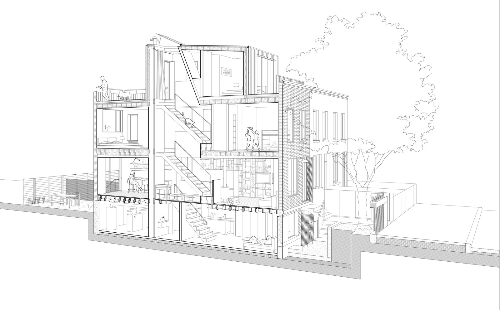 A sectional drawing of Little House, Big City.