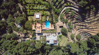 An aerial view of the 190-acre estate.