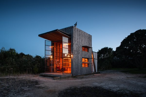 """The hut is a series of simple design moves,"" says the firm. ""The form is reminiscent of a surf lifesaving or observation tower."""