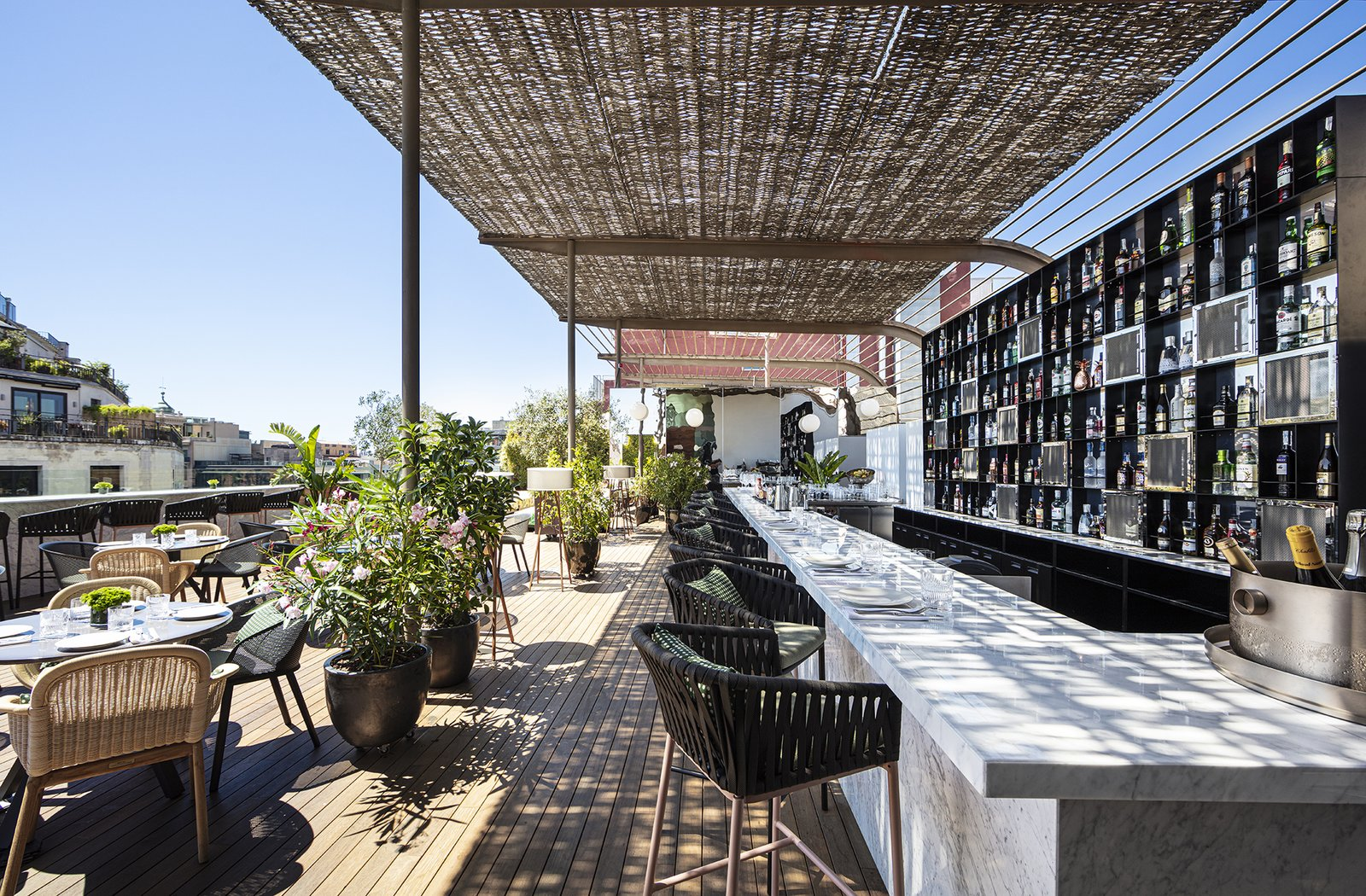 Outdoor, Rooftop, and Wood Patio, Porch, Deck Sir Victor's rooftop bar.  Photo 15 of 24 in Barcelona's Hottest New Hotel Draws Inspiration From a Rebellious Female Author