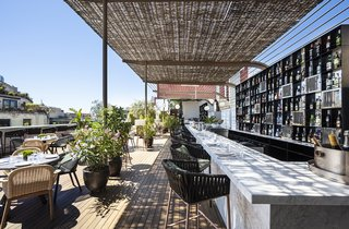 Sir Victor's rooftop bar provides sun and shade in equal measure.