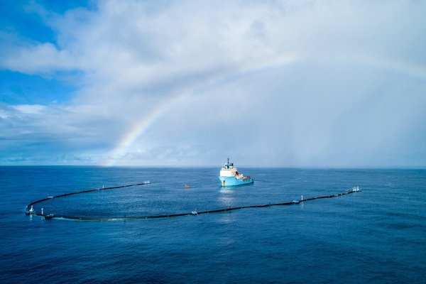 The Ocean Cleanup's floating boom measures nearly 2,000 feet long.