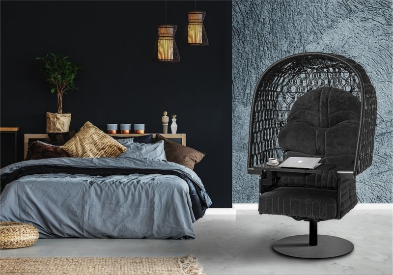 The Vader Easy Chair features a foldable swivel table and an open-weave canopy in a blend of business and pleasure.  Photo 2 of 4 in A New Line of Star Wars Furniture Lets You Rule the Galaxy—From Your Living Room