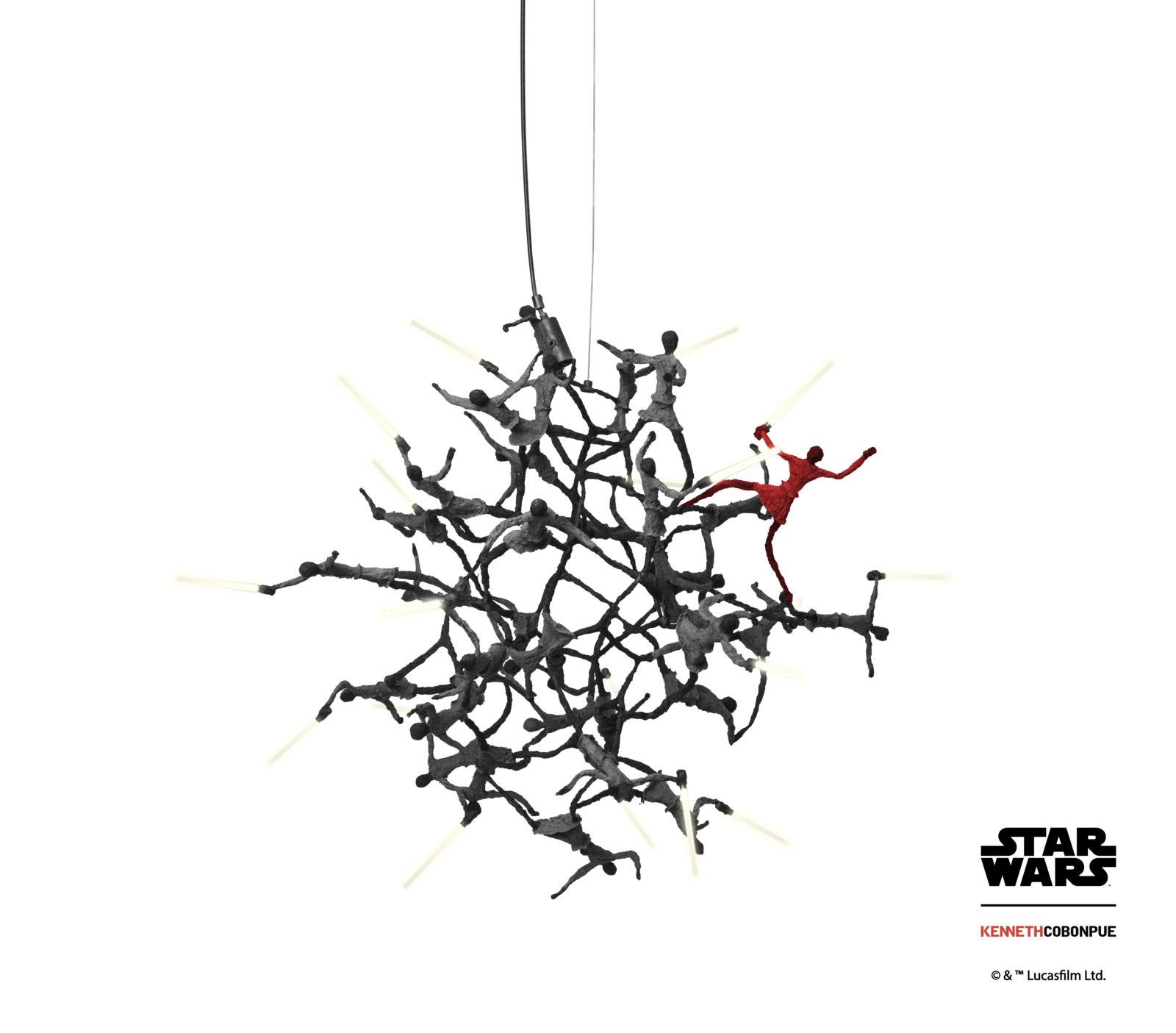 The Little Jedi Hanging Lamp features miniature Jedi Knights with LED light sabers, conveying a message of positive power through unity.  Photo 4 of 4 in A New Line of Star Wars Furniture Lets You Rule the Galaxy—From Your Living Room