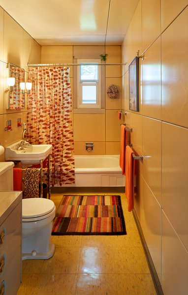 The home's interior cabinets, closets and bathroom vanities are also made of metal.