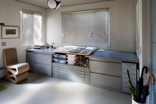 The durable, low-maintenance prefab also includes an office area, featuring plenty of storage.
