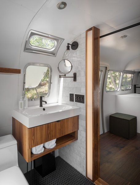 The bathrooms in the Airstream suites fit a lot of great design into a small space.
