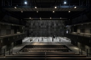 An adjustable theater is a template for artists to customize performances.