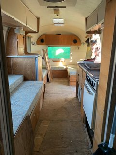 Before: to meet the needs of their client, the couple reconfigured the Airstream's entire layout.