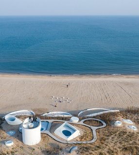 An aerial view of the UCCA Dune Art Museum in Qinhuangdao, China.