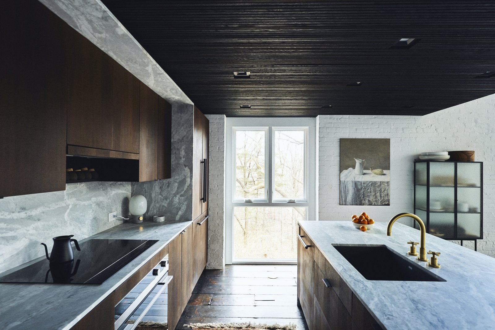 Ravi Raj Clover Hill Residence marble and wood kitchen