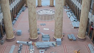 The National Building Museum built out the experience—just one of many over the years—amidst towering marble pillars.