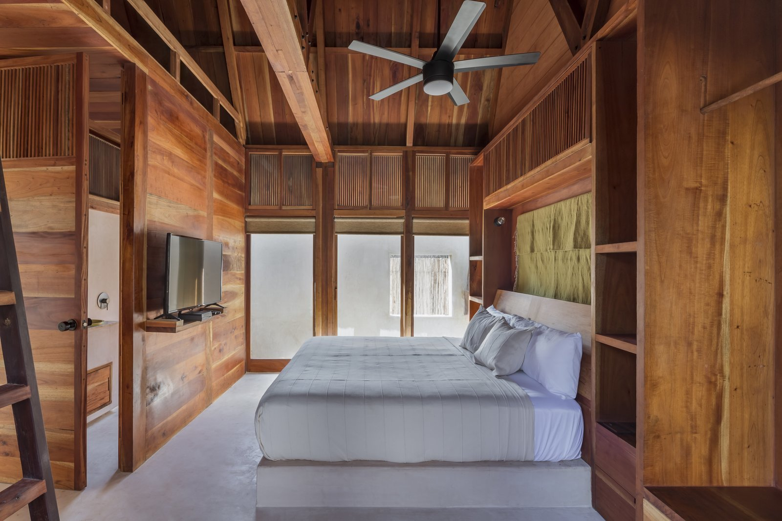 The guest rooms were all built from Western red cedar, which was sourced from the family's plantation.