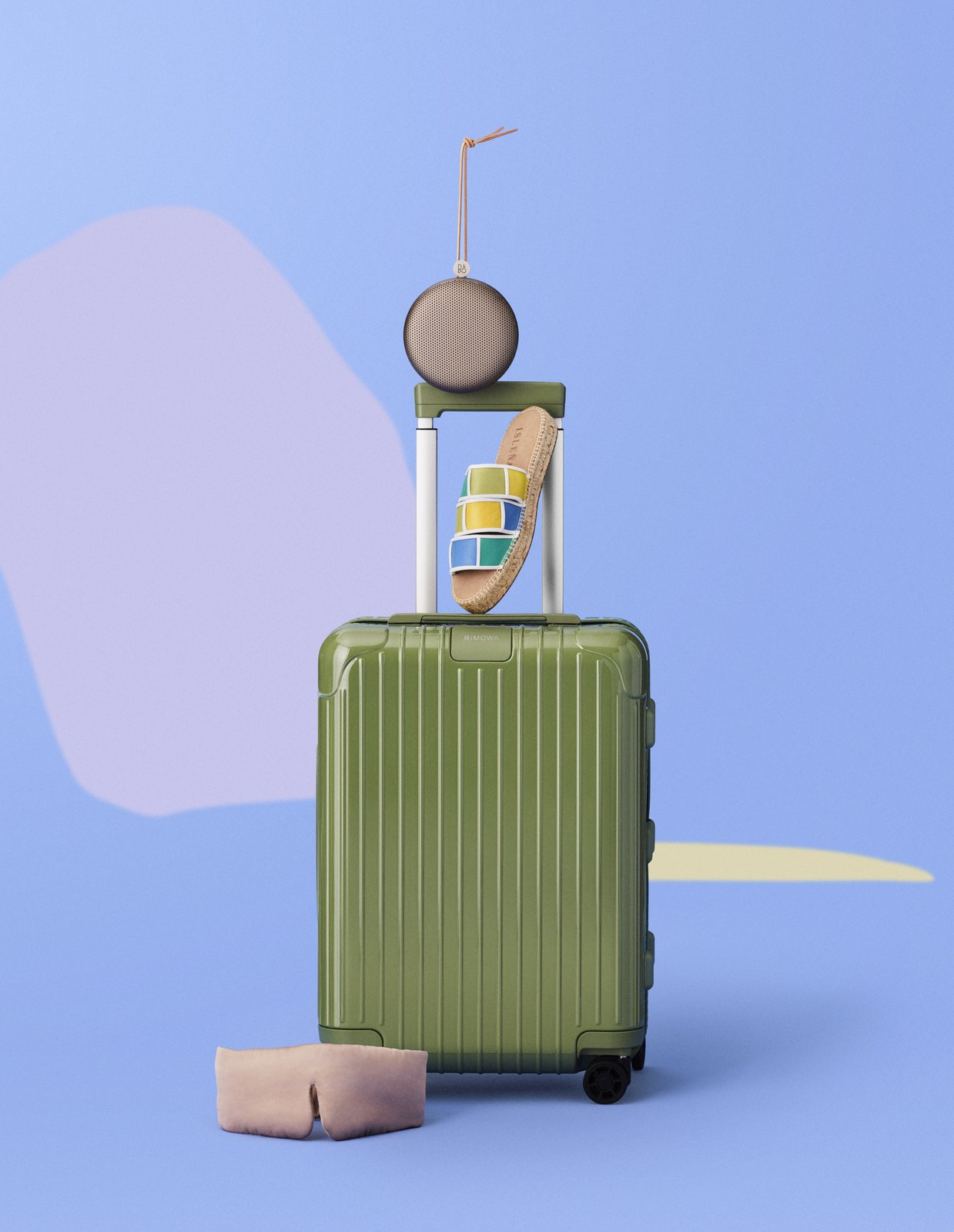 """BEOPLAY A1"" SPEAKER, Bang & Olufsen ""OFF GRID"" SANDAL, Isleñas ""HYBRID"" CABIN SUITCASE, Rimowa WASHABLE SILK SLEEP MASK, Lunya"