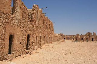 The Tunisian desert is hot and arid; traditional homes are built to provide insulation from the climate.