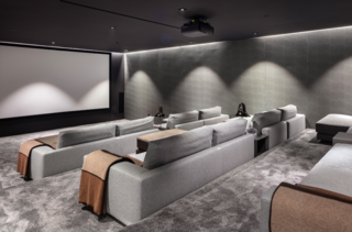 The state-of-the-art home cinema is perfect for intimate movie gatherings.
