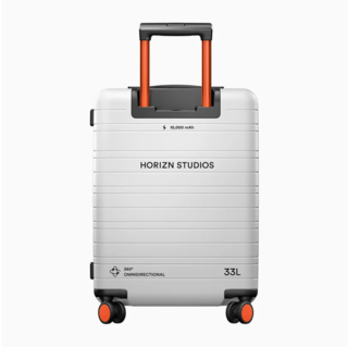 """The luggage has 360-degree&nbsp;<span style=""""font-family: Theinhardt, -apple-system, BlinkMacSystemFont, &quot;Segoe UI&quot;, Roboto, Oxygen-Sans, Ubuntu, Cantarell, &quot;Helvetica Neue&quot;, sans-serif;"""">rollers and an onboard power bank that can charge a phone a couple of times.</span>"""