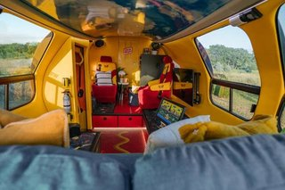The ketchup and mustard interiors are a reminder that—yes—you are in a giant hot dog.