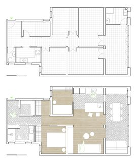 The floor plan before (top) and after the renovation (bottom). A former central hallway was partially removed to create an integrated living space at the front of the apartment.