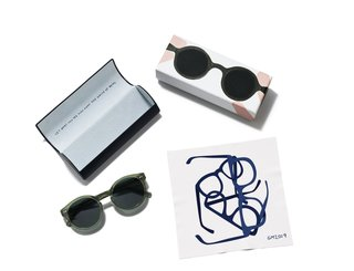Each pair of sunglasses comes with a special-edition frame case and a lens cloth featuring Geoff McFetridge's artwork.