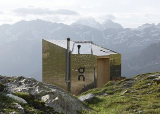 "The hut combines ""our love of mountains with our love of design. It fuses tradition with innovation,"" the brand explains."
