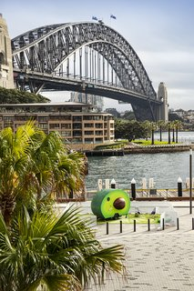 The camper sits in front of Campbell's Cove Lookout at Sydney's Circular Quay.